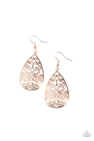 Paparazzi Divine Vine - Earrings Rose Gold Box 40
