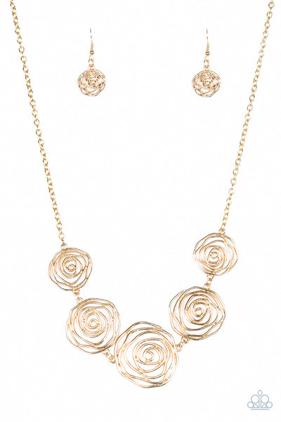 Paparazzi Rosy Rosette - Necklace Gold Box 2