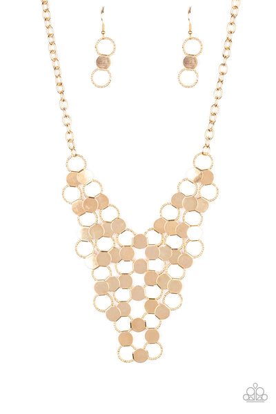 Paparazzi Net Result - Necklace Gold Box 57