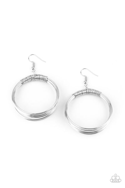 Paparazzi Urban-Spun - Earrings Silver Box 79