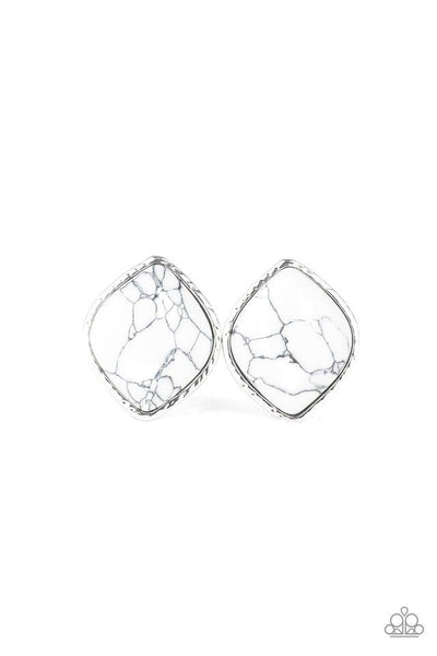 Paparazzi Marble Marvel - Earrings White Box 84