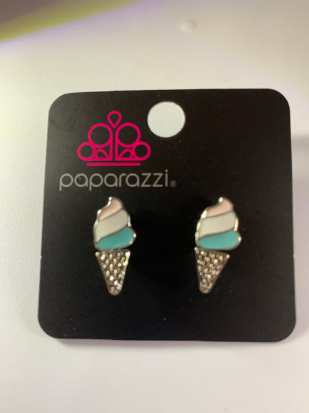 Paparazzi Starlet Shimmer Earrings Ice Cream Cones Pink White Blue Ear Jackets