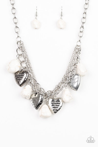 Paparazzi Change Of Heart - Necklace Stone White Box 26