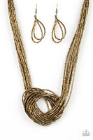 Paparazzi Knotted Knockout - Necklace Brass Box 63