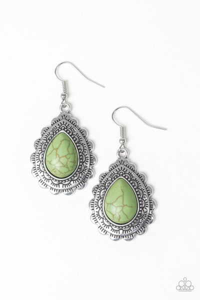 Paparazzi Mesa Mustang - Earrings Green Box 44