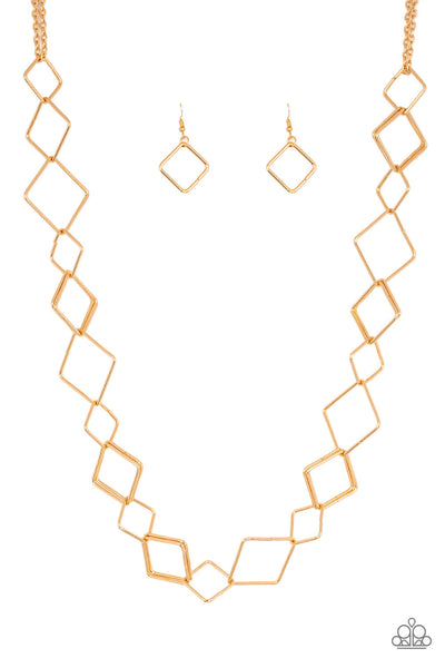 Paparazzi Backed Into A Corner - Necklace Gold Box 30