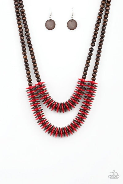 Paparazzi Dominican Disco - Necklace Red Wood Box 22