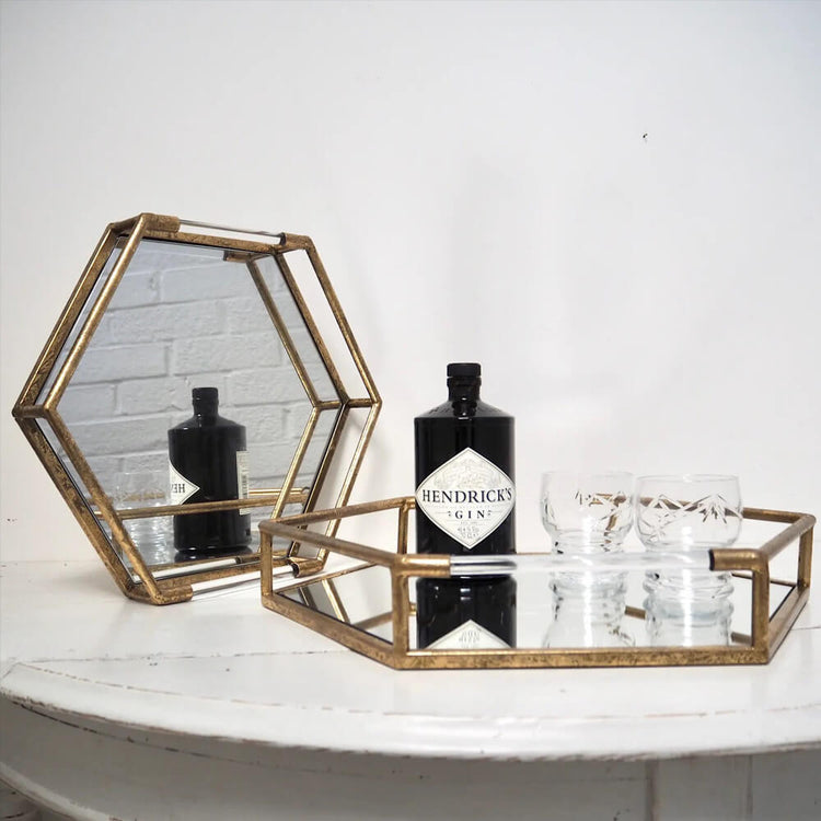 Gold hexagonal cocktail tray