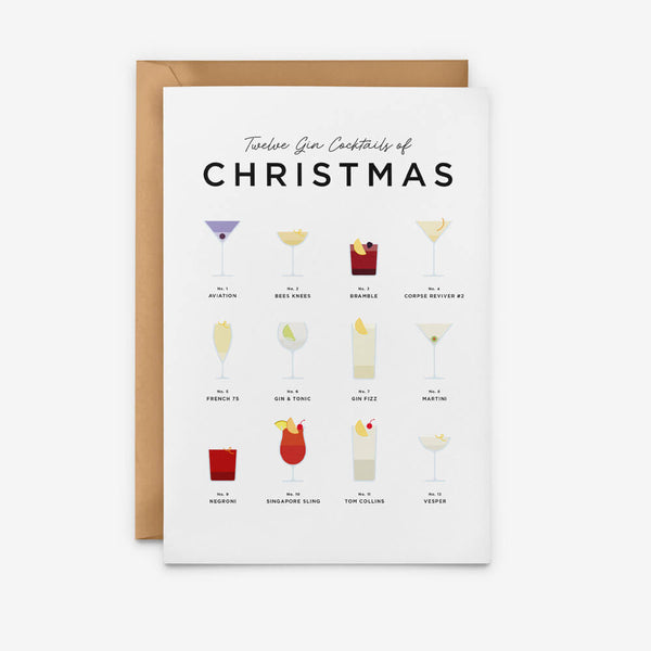 Gin Cocktails Christmas Card