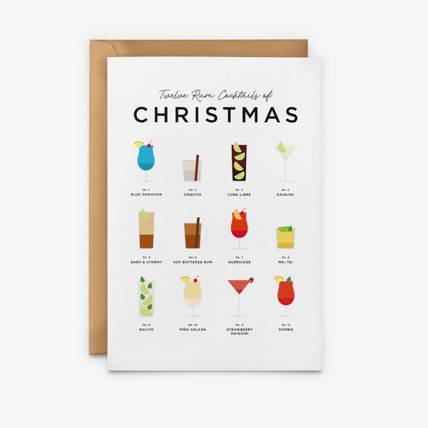 Rum Cocktails Christmas Card