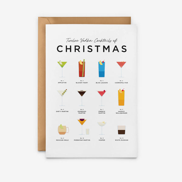 Vodka Cocktails Christmas Card