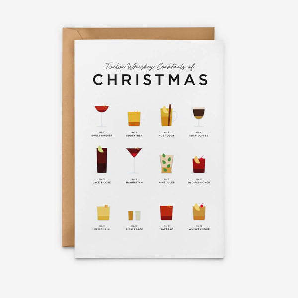 Whiskey Cocktails Christmas Card