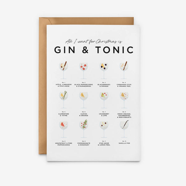All I Want Is Gin & Tonic Christmas Card