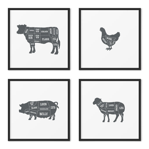 Butcher Prints Set of 4 – Solid