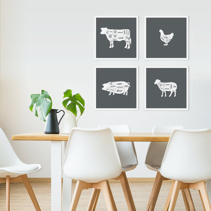 Butcher chart kitchen art prints