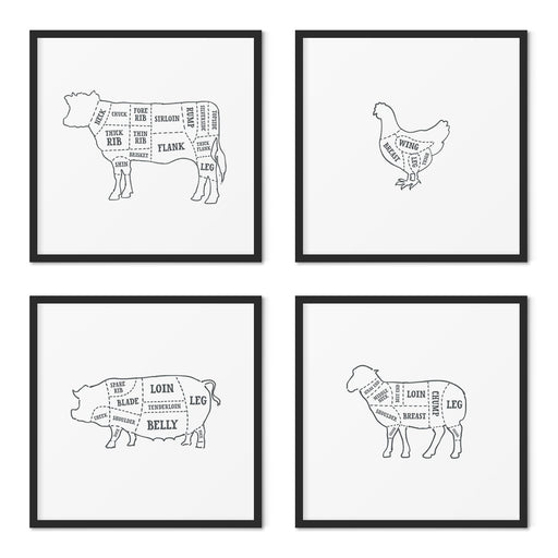 Butcher Prints Set of 4 – Outline