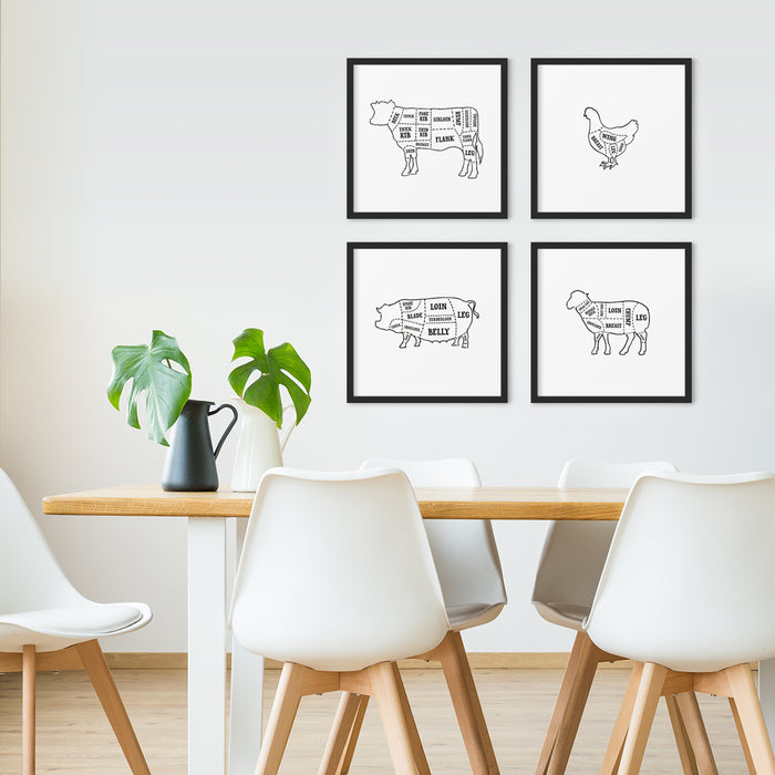 Butcher cuts kitchen art prints