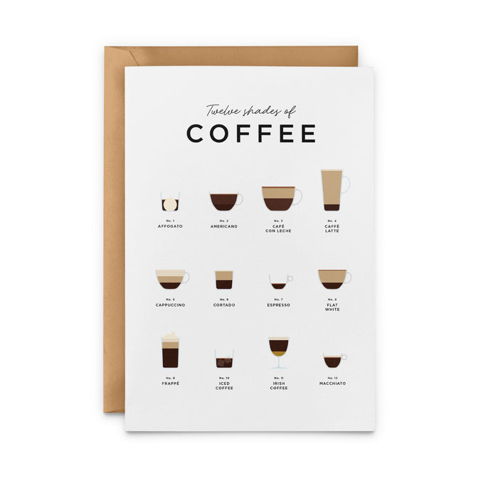 Twelve Shades Of Coffee Greeting Card