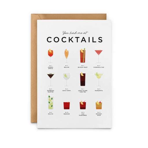 You Had Me At Cocktails Greeting Card