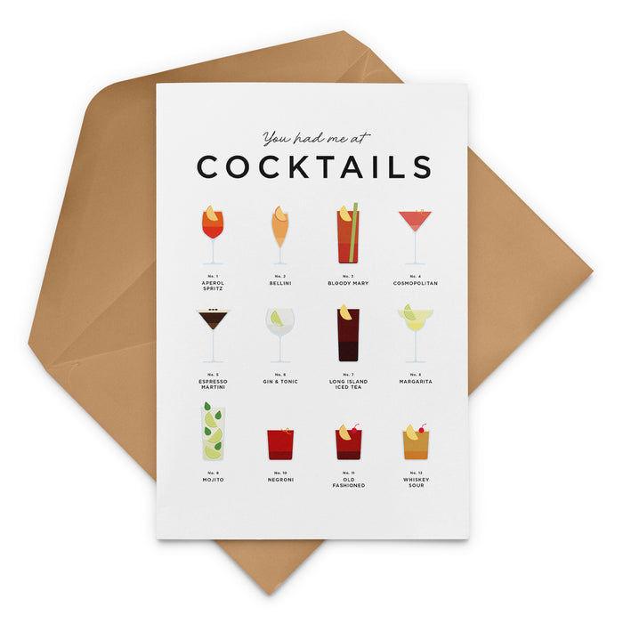 Classic Cocktail Recipes Greeting Card