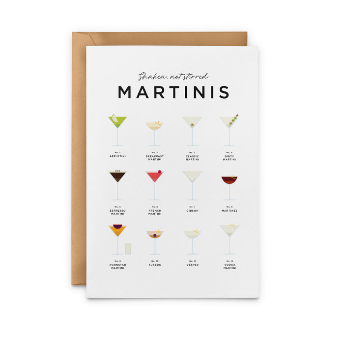 Shaken Not Stirred Martini Greeting Card – Cocktail Recipes