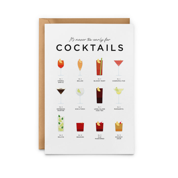 It's Never Too Early For Cocktails Greeting Card