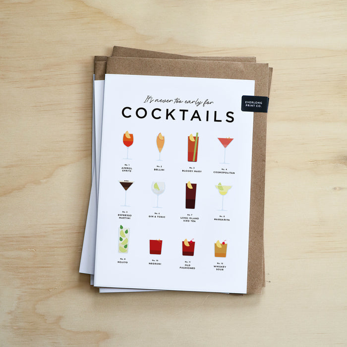It's Never Too Early For Cocktails Congratulations, New Job, New Home, Birthday Card