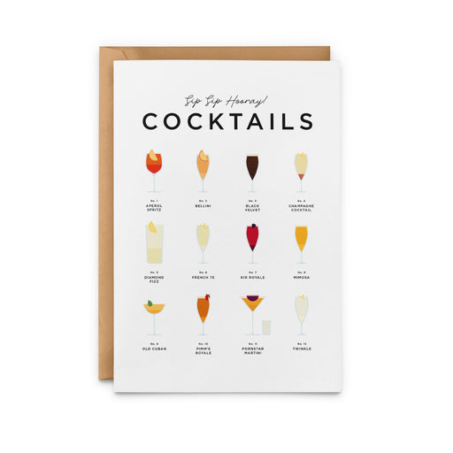 Sip Sip Hooray! Cocktails Greeting Card