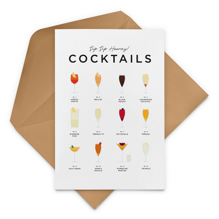 Sip Sip Hooray! Cocktails Greeting Card, new job, new home, housewarming, birthday, anniversary