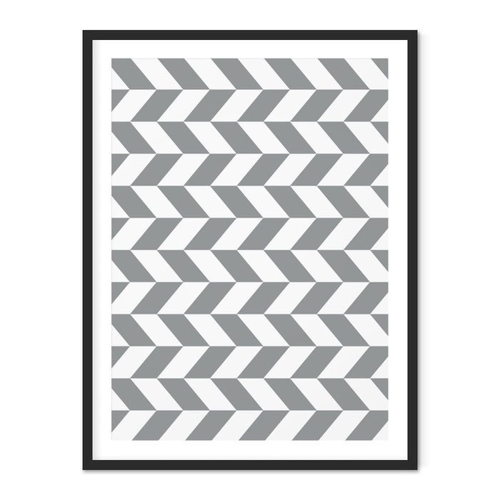 Checkered Chevron Geometric Art Print – Horizontal