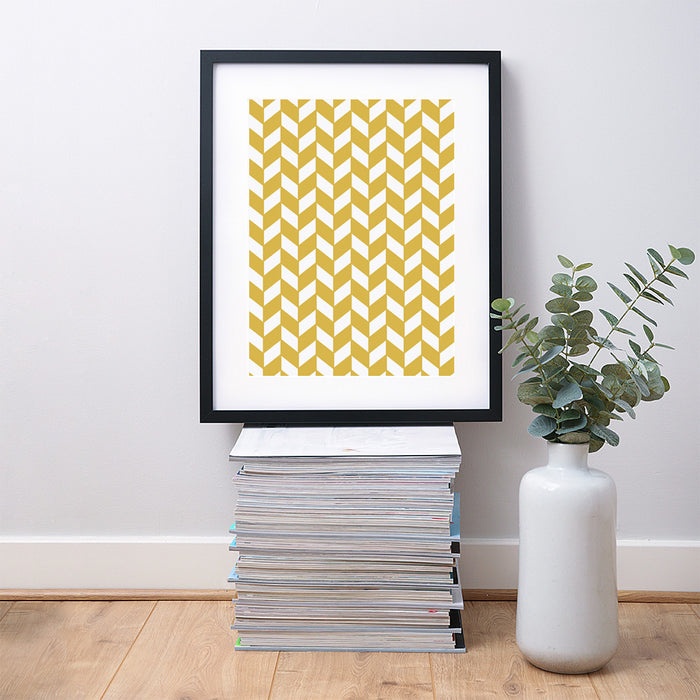 Checkered Chevron Geometric Art Print – Vertical