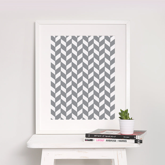 Checkered Chevron Geometric Print – Vertical