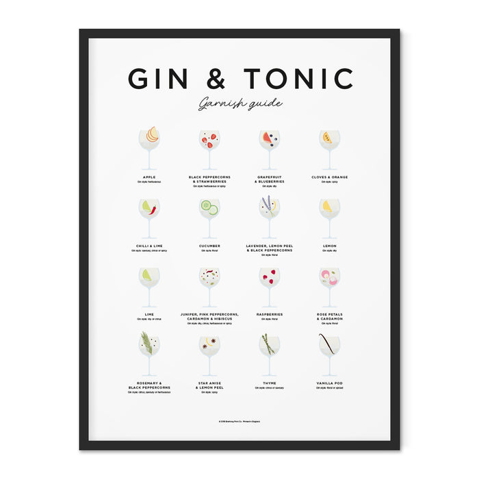 Gin and tonic garnish guide art print