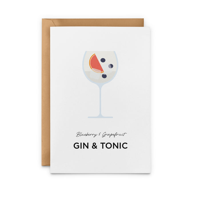 Blueberry & Grapefruit Gin & Tonic Greeting Card