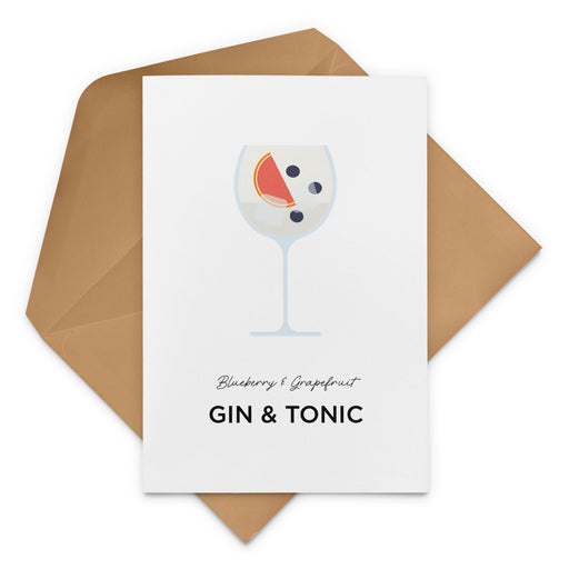 Blueberry & Grapefruit Gin & Tonic Garnish Greeting Card