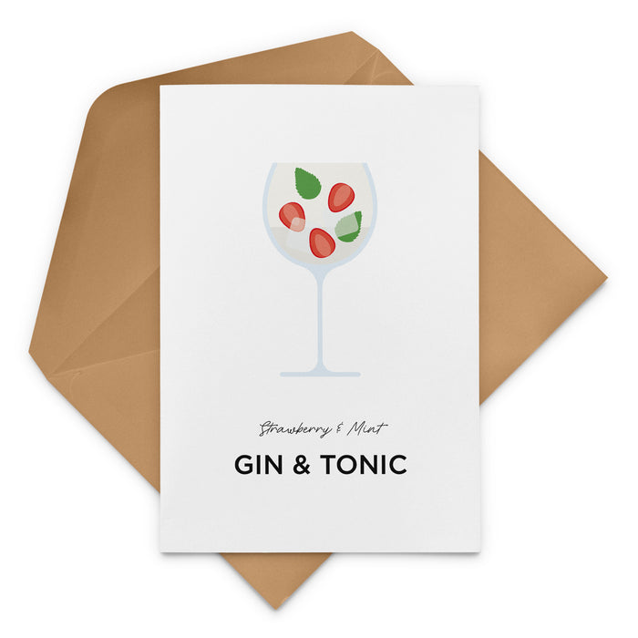 Strawberry & Mint Gin & Tonic Garnish Greeting Card