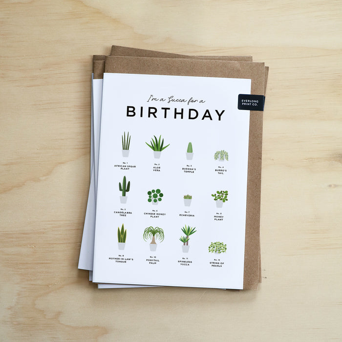 Succulents Houseplants Lover Birthday Card