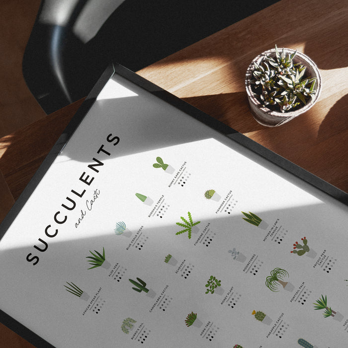 Succulents and Cactus Wall Art Print