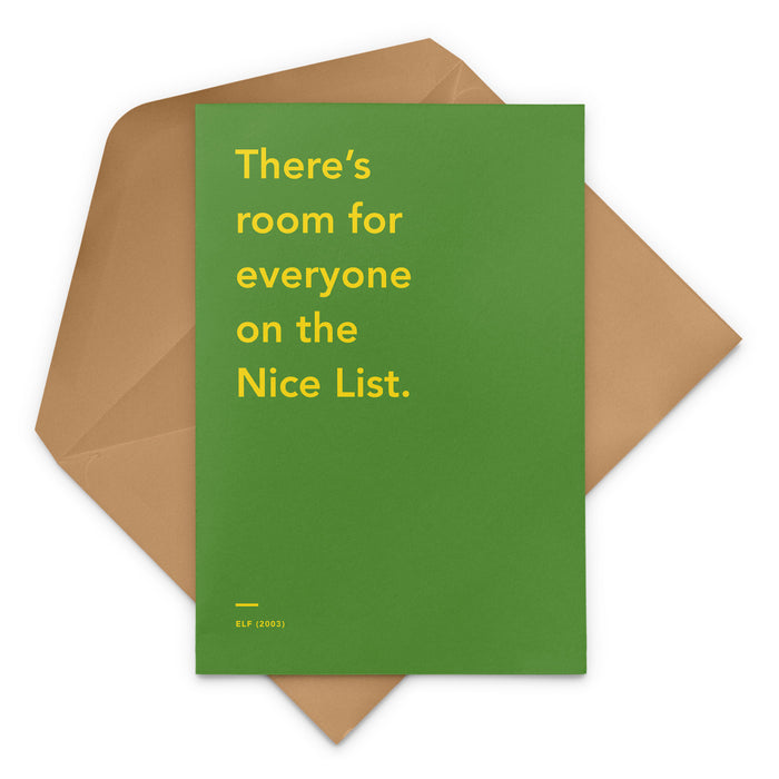 'There's Room For Everyone On The Nice List' Christmas Card