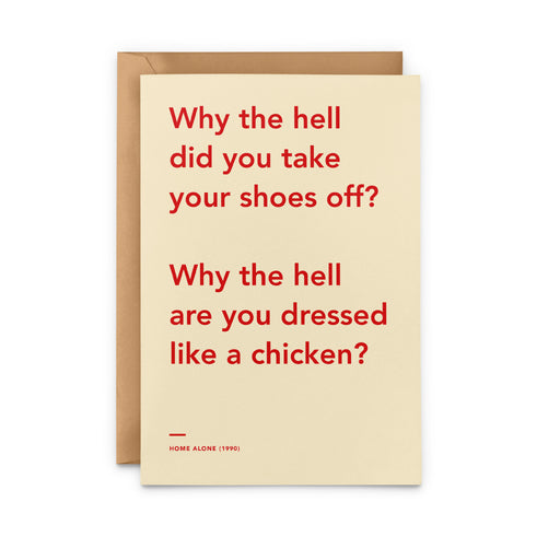 'Why The Hell Are You Dressed Like a Chicken' Home Alone movie Christmas Card