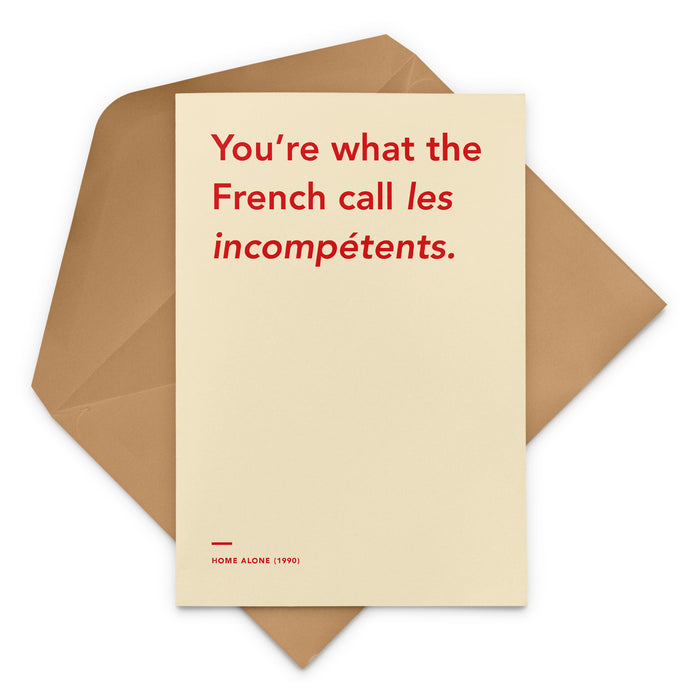 'You're What The French Call Les Incompetents' Home Alone movie Christmas Greetings Card