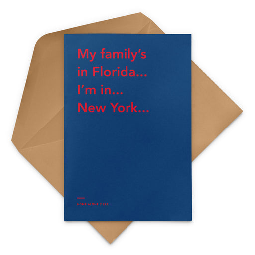 'My family's in Florida... I'm in... New York...' Home Alone 2: Lost in New York Christmas Greetings Card