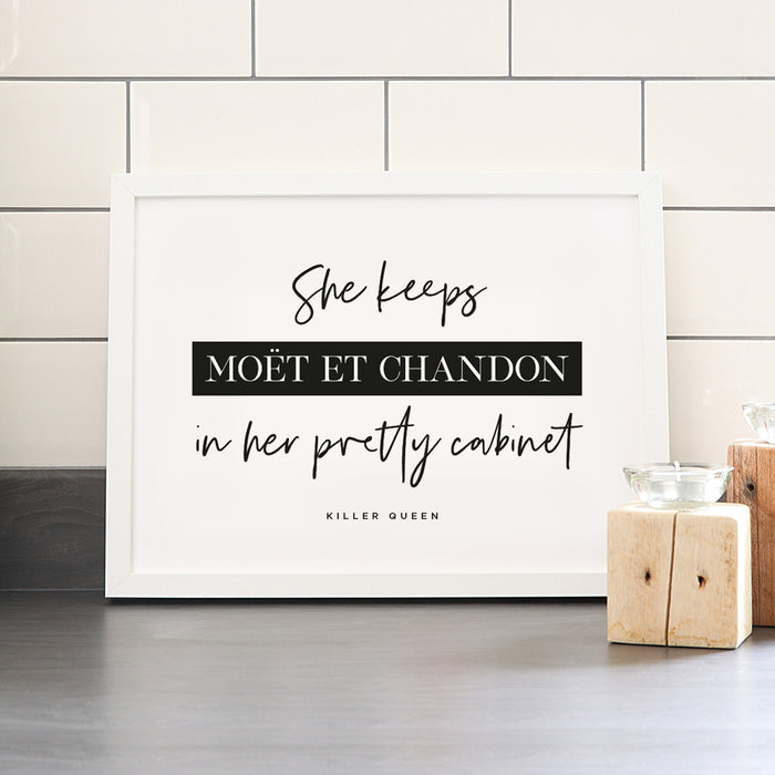 Killer Queen Moët & Chandon Quote Art Print