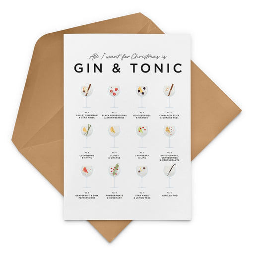 All I Want For Christmas Is Gin & Tonic Christmas Card