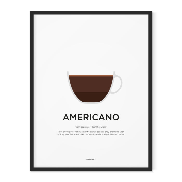 Americano coffee art print