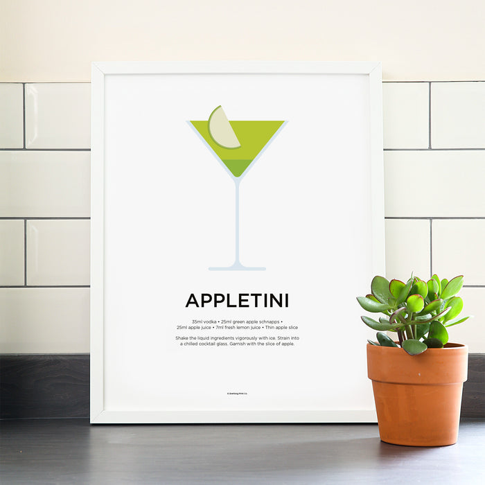 Appletini cocktail poster