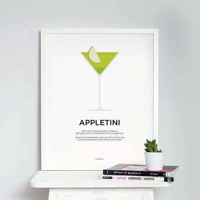 Appletini cocktail wall art