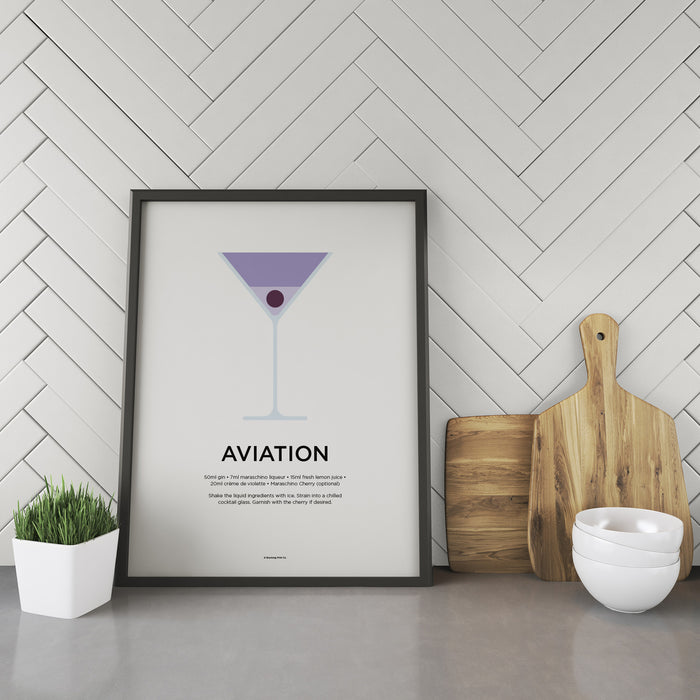 Aviation cocktail recipe print