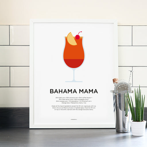Bahama Mama cocktail poster