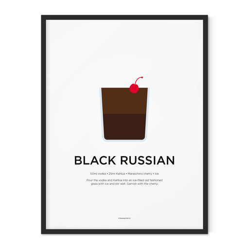 Black Russian cocktail art print